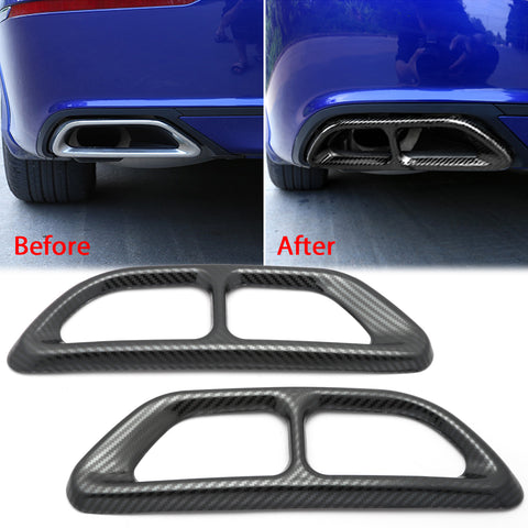 Carbon Fiber Texture Rear Cylinder Exhaust Pipe Cover Molding Overlay Trims For Honda Accord 10th Gen 2018 2019 2020