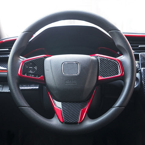 RED Interior Steering Wheel Frame Cover Trim Decoration For Honda Civic 10th Gen 2016 2017 2018 2019 2020