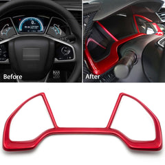 Red Dash Board Instrument Panel Dial Dashboard Trim Cover Frame ABS Decal Interior Moulding Accessories for Honda Civic 10th Gen 2016 2017 2018 2019 2020