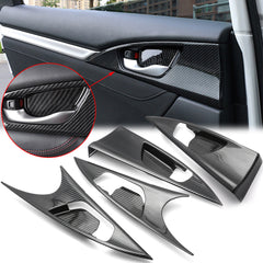 4x Carbon Fiber Print Interior Door Handle Bowl Panel Molding Cover Decoration Trim for Honda Civic 10th Gen Sedan 2016 2017 2018 2019 2020
