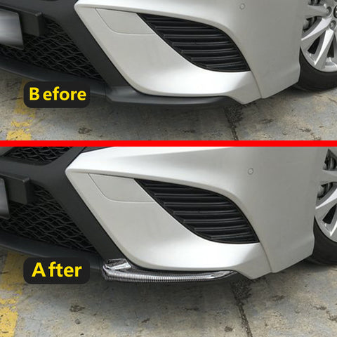 ABS Carbon Fiber Front Bumper Lip Cover Moulding Trim for Toyota Camry SE XSE 2018 2019 2020, Sporty Car Front Bumper Splitter Cover Trim Spoiler Diffuser Deflector