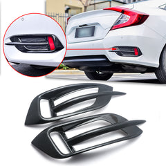 Carbon Fiber Style Rear Reflector Fog Light Lamp Bezel Overlay Cover Molding Trim For Honda Civic 10th Gen Sedan 2016 2017 2018 2019 2020
