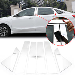 6pcs Chrome Exterior Side Door Window Pillar Posts Molding Pre-Cut Cover Trims For Honda Civic 10th Gen 2016 2017 2018 2019 2020