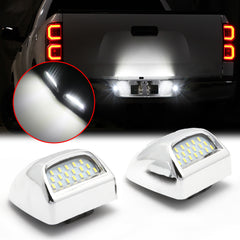 White LED License Plate Light Tag Lamp Assembly Housing Pair Replacement For Chevy Silverado GMC Sierra 1500 2500 3500 Suburban Tahoe Yukon XL Cadillac Escalade