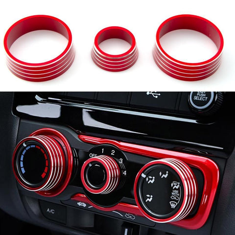 3pcs Aluminum Air Condition Switch Knob Volume Knob Trim Ring for Honda Fit Jazz 2014-2017 Red/ Blue/ Silver