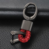 Blue/ Black/ Pink/ Red/ Black Red/ Black White/ Black Yellow Braided Leather Gun Metal Wrist Key Chian Ring Car Keychain Universal Fit