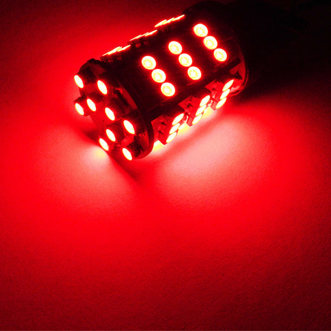 2x Red 7440 7443 54-SMD LED Bulbs For Tail Brake High Mount Stop Light