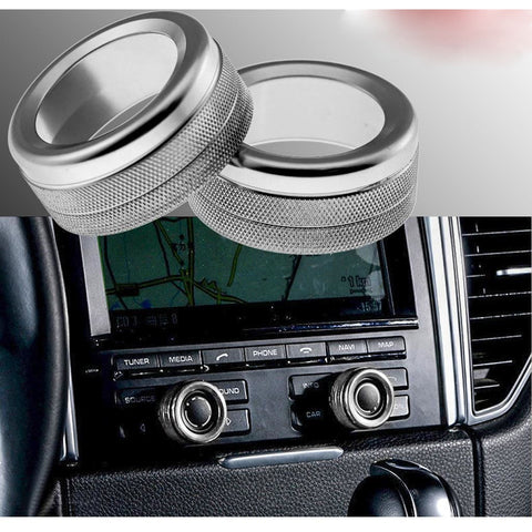 2pcs Red/ Blue/ Silver Anodized Aluminum AC Climate Control Knob Ring Volume Knob Decor Cover for Porsche Cayenne Macan Boxster Cayman 911 718 Panamera
