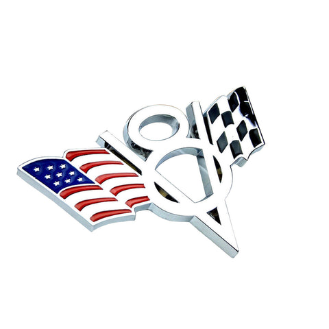 America US America/ Germany Flag V8 Emblem Side Fender Trunk Bumper Sticker Badge for Ford Chevrolet Honda Toyota