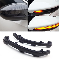 Smoked Side Mirror LED Sequential Blink Turn Signal Lights For 15-up Volkswagen VW MK7 Golf GTI