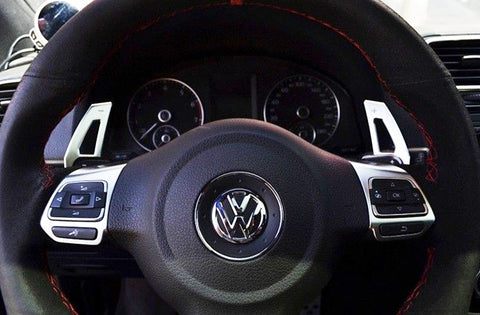 1 set Aluminum Steering Wheel DSG Paddle Extension Black Trim For VW MK6 Golf GTI R MK EOS[Silver/Black]
