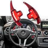 1 set Pure Real Carbon Fiber Steering Wheel Gear Paddle Shifter Extensions for Mercedes Benz GL GLA GLK GL SLK A B E M Class  Black/ Red