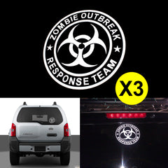 "3pcs ZOMBIE OUTBREAK RESPONSE TEAM 6"" Die Cut Stickers For Drift Off-Road Car Truck Window Cool Decal Reflective Vinyl"
