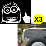 "3pcs Minion Despicable Me Peeking Bird Finger 6"" Die Cut Stickers For Drift Car Truck SUV Window Cool Decal Reflective Vinyl"