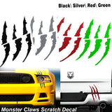 Die-Cut Monster Claws Scratch Headlight Decal Vinyl Sticker Halloween Décor[Red/Black/Silver/Green]