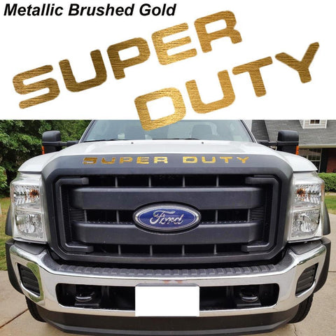 Brushed Gold \ Brushed Silver \ Matte Black \ Glossy Black \ Glossy Red Thin Vinyl Super Duty Letters Decal Stickers For 2008-2016 Ford F-250 F-350 F-450 F-550 Front Grille Hood