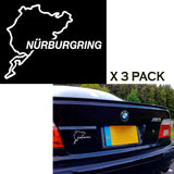 3pcs Euro Nurburgring Race Track Touring Map Car Window Die-Cut Graphic Vinyl Decals for SUV Truck Car Bumper, Laptop, Wall, Mirror, Motorcycle