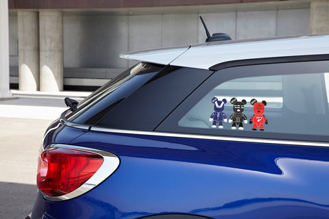 3 Pcs Mini Cooper Cute Cool Gloomy Bears Robot Red Black Blue Exclusive Car Window Reflective Decals Stickers For Car Truck Window Trunk Door or Laptop refrigerator