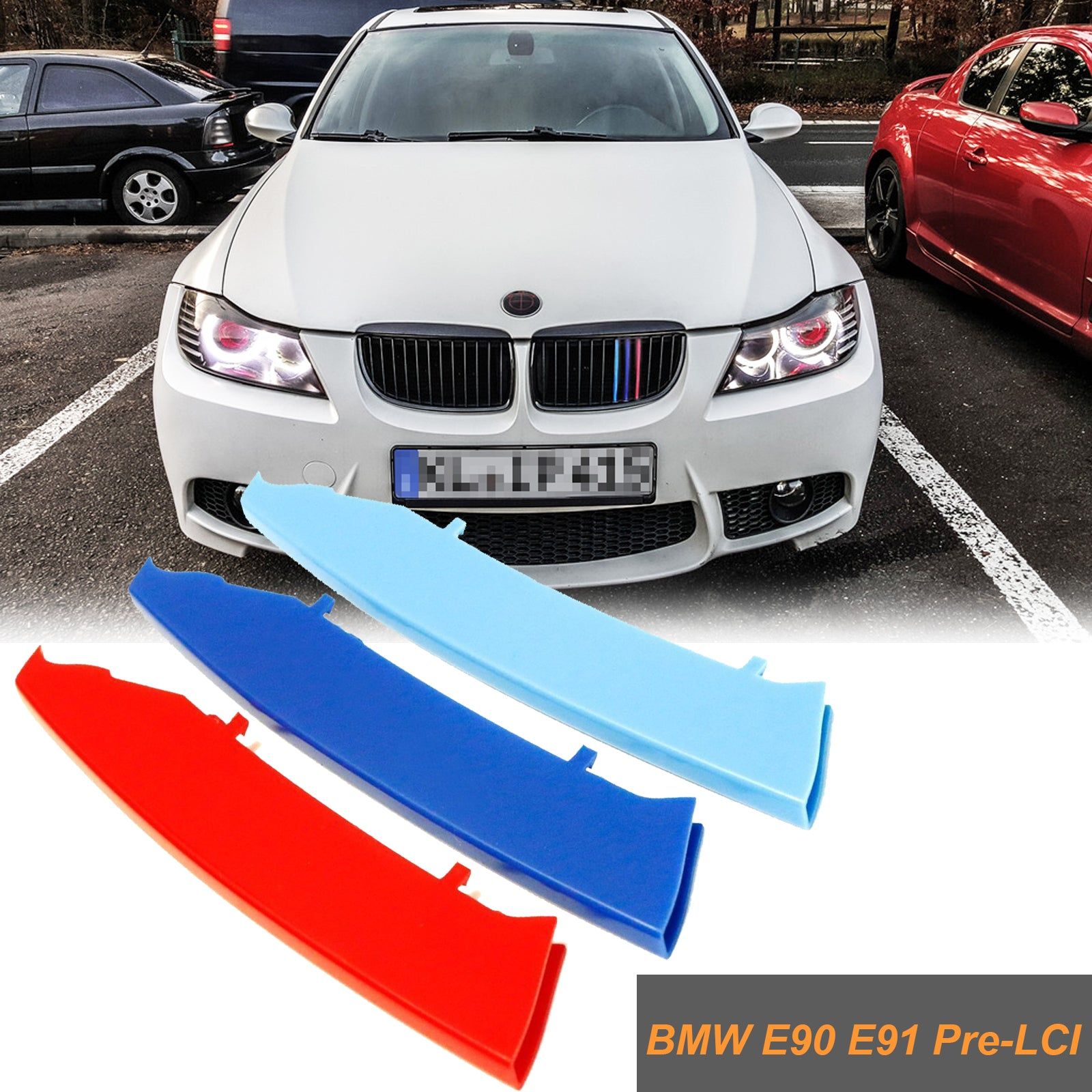 Front Grille Trim Strips Grill Cover Decoration for BMW 3 Series E90 2004 2005 2006 2007 2008 12 Grilles Inserts Kidney Grilles Hood Radiator Grill Stripes Decor 3 colours