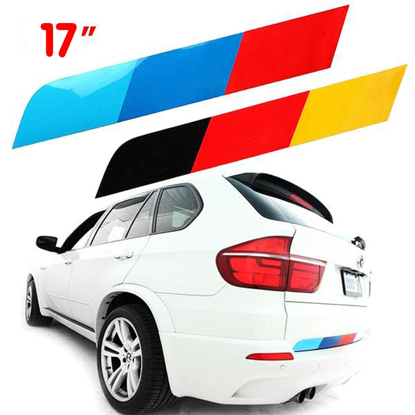 17 M Colored Stripe Euro Germany Flag Trunk Side Skirt Hood Front