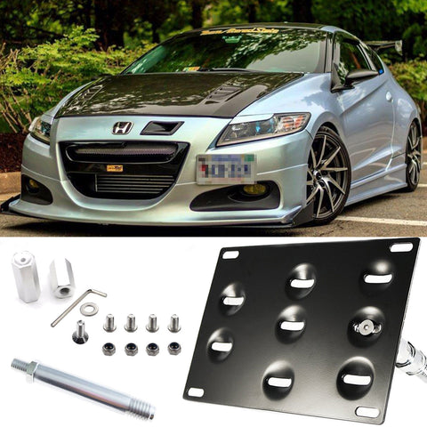 Bumper Tow Hook License Plate Mount Bracket For Honda 2nd Gen FIT CR-Z Insight Black \ Gold