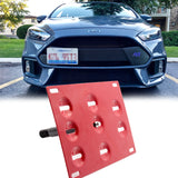 1 Set Black / Gold / Red Sporty Racing Front Tow Hook License Plate Bumper Mounting Bracket Fit for Ford Focus RS 2016-2018