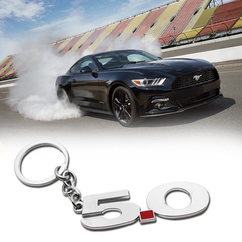 5.0 Silver Chrome Finish Key Chain Fob Ring Keychain For 2011~2014 Mustang GT 500 Cobra
