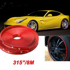 Red\ White 8M Car Rubber Stripe Wheel Hub Rim Edge Protection Tire Guard Sticker for VW