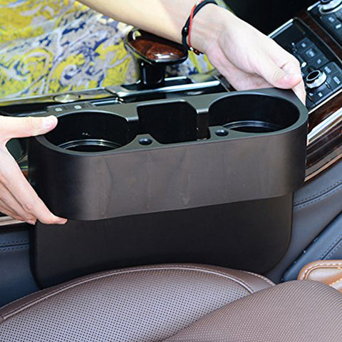 Car Seat Seam Wedge Storage Organizer Cup Holder Bottle Drink Phone Mount Stand Black Plastic, Universal Fit