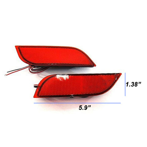 2pcs Red LED Lens Bumper Reflector Tail Brake Light Stop Light For 2008+ Subaru WRX STI etc