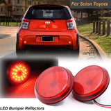 2x Round LED Red Lens Bumper Taillight Reflector Brake Lights For Scion Toyota Corolla