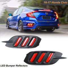 Mustang Style LED Reflector Bumper Tail Light Brake Lamps fit Honda Civic 2016-up
