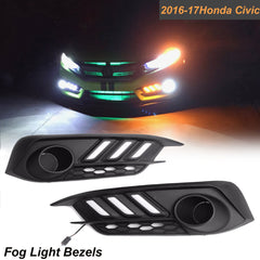 Honda Civic 2016 2017 LED Daytime Running DRL / Turn Signal Light Headlight Kit Mustang Style Fog Light Bezels, Dual Color Dual Funtion