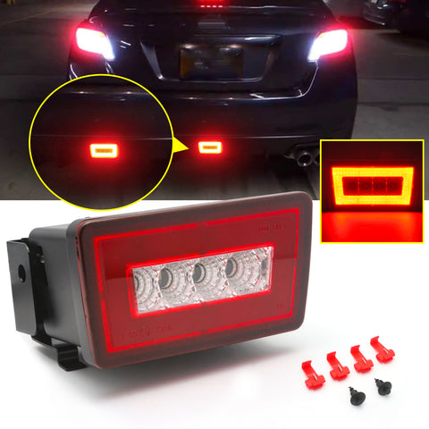 Red Lens 3-In-1 LED Rear Fog Light Kit For Subaru Impreza WRX/STi 11-up, Functions as Tail Lamp, Brake Lamp, Backup Reverse Light (Includes Wire Harness & Mounting Bracket)