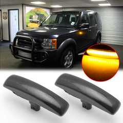 Smoked Dynamic LED Front Fender Side Marker Light Turn Signal Lamp Assembly Replacement For Range Rover Sport LR3 LR4 Discovery 3/Discovery 4 LR2 Freelander 2, Replace OEM Sidemarker Lamps