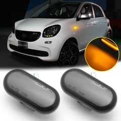 Smoked lens LED Sequential Side Marker Light Flowing Turn Signal Indicators Lamp Bulbs Compatible with Mercedes Benz Smart Fortwo W453 / C453 2014-2019