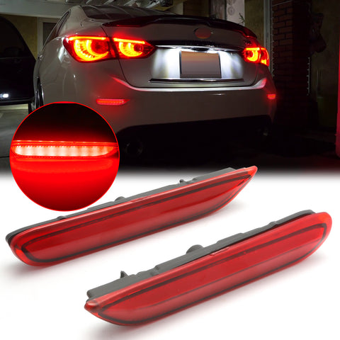 3D Optic Red Lens Rear Bumper Reflector Brake Tail Lights w/Sequential Turn Signal Lamps, Strobe Brake Lighting Kit For Infiniti Q50 QX56 QX60 QX80 Nissan Pathfinder Rogue, etc