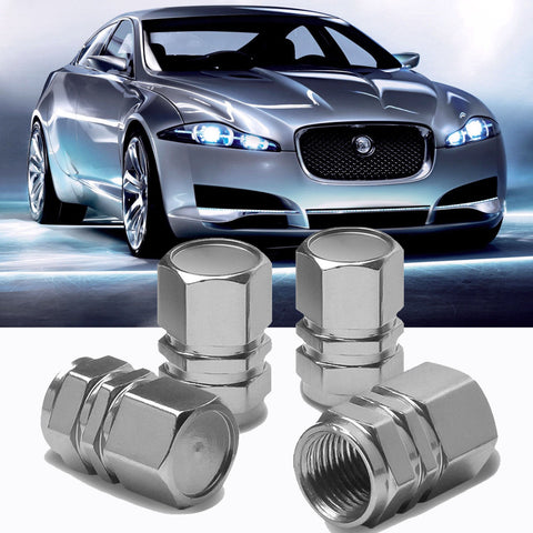 4pc Gun Metal \ Chrome Silver \ Black \ Gold \ Purple Car Bike Wheel Tire Valve Stem Caps Dust Cover Alloy Universal Fit
