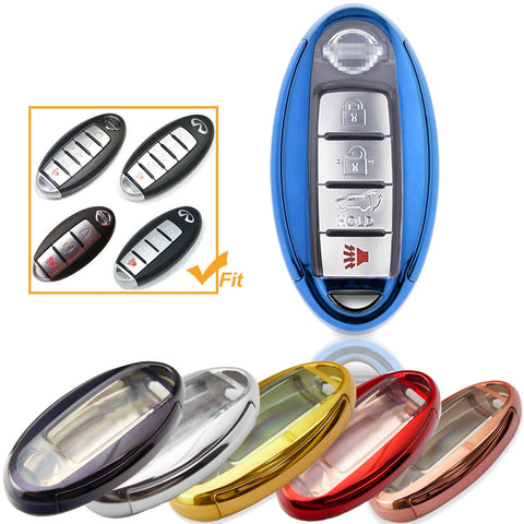 Black \ Silver \ Blue \ Red \ Gold\ Rose Pink Soft TPU + Hard ABS Remote Smart Key Fob Shell Cover For Nissan 3 4 5 Buttons