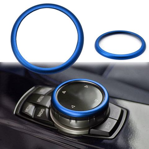 JDM Metal Aluminum Center Console iDrive Multimedia Controller Knob Decor Ring Cover for BMW Red/ Blue