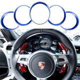 5pcs ABS Anodized Dashboard Meter Ring Instrument Frame Trim Covers for Porsche Cayenne 958 2011-2018 Panamera 976 2010-2016 Porsche 911 991 2013-2018 Red/ Blue/ Silver