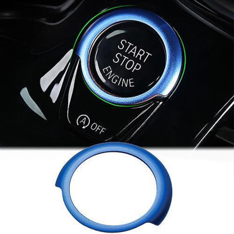 Engine Start Stop Button Cover Key Switch Aluminum Decor Ring Sticker for BMW 5 Series G30 2017-up Red/ Blue