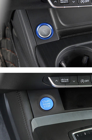 Blue/ Red Start Engine Stop Push Button Cover + Ring Fit Audi A4 A5 Q5 - S Line Style Start Stop Button Decor