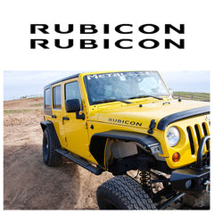 2 x Vinyl Black/ Brush Silver/ Red/ White RUBICON Letter Decal Hood Fender Sticker for Jeep Rubicon Wrangler JK YJ