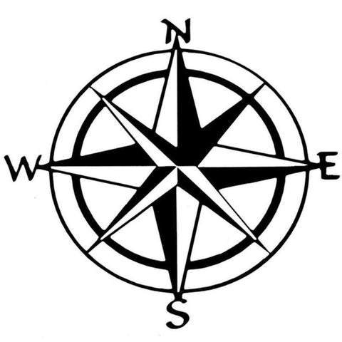 "Car Decoration, 6"" Nautical Compass Sticker Decal for Car Trunk Hood Door Window, Black/ White"