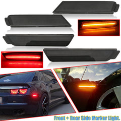Smoked Lens LED Full Side Marker Light Kit Compatible With Chevy Camaro 2010 2011 2012 2013 2014 2015 Front Amber Rear Red Bumper Sidemarker Lamp Reflector Replacement,98 SMD LED Diodes