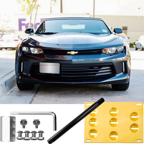 Front Bumper License Plate Tow Hook Bracket Kit for Chevy Camaro 2016-up Black/ Gold/ Red