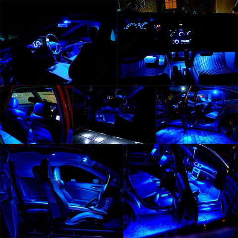 1994 - 2004 5-Light LED SMD Full Interior Lights Package Kit Deal for Ford Mustang[White\ Blue]