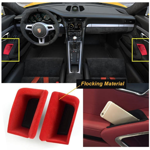 2pcs Black/ Red Door Armrest Organizer Storage Box For Porsche 911 Boxster Cayman 2013-2019