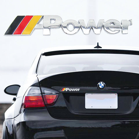 Chrome Silver Germany Flag/ Matte Black Germany Flag/ Matte Black M Color M Power Car Rear Trunk Emblem Auto Side Skirt Body Badge Exterior Decoration Sticker Universal